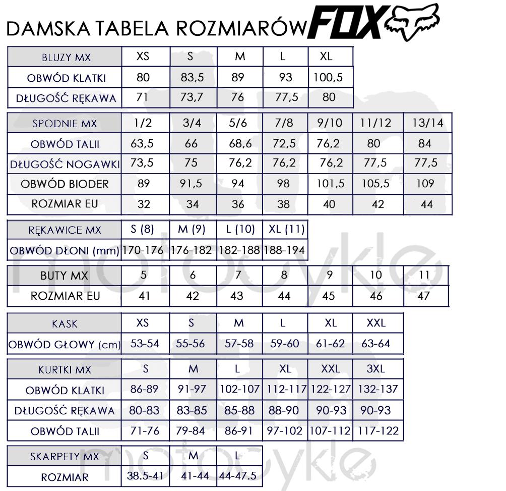 Fox Tabela Rozmiarow